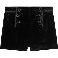 Emilio Pucci Velvet Shorts ($565) ❤ liked on Polyvore featuring shorts, bottoms, emilio pucci, black, short shorts, laced shorts, lace-up shorts and slim fit shorts
