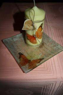 MATRIUSKADAS: Paso a Paso: Bandejas con Decoupage Decoupage, Fruit, Medium, Food, Rice Paper, Bottle, Manualidades, Butterflies, Eten