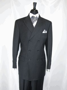 """Apollo King #Hd-703 Double Breasted (6x3) Men's Suit """"Charcoal pinstripe"""" wide Peaked Lapel and side vented side for Style and made of superior """"100% Wool"""" (150 Thread Count) 2 flap Pockets. The Matching Pleated Pants (100% Wool) are lined to the knee and for comfort have automatic """"Expandable Waist Band"""" all available for $179.99. The Suits sizes are available 38R-56R, 40L-56L @BerganBrothersSuits.com."""