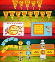 Winnie the Pooh Birthday Party Kit  Custom  by yellowbirdesign, $18.00