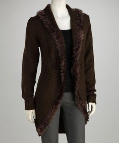 Take a look at this Brown Knit Fringe Open Cardigan by Michael K on #zulily today!