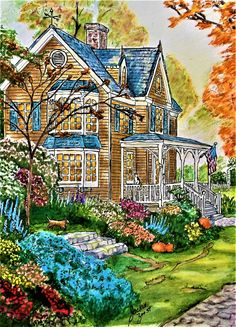 "From "" Thomas Kinkade - Painter of Light "". Done with Prismacolor and Rembrandt Polycolor pencils, Bic. Staedtler , Stabilo and Sakura fine liners. Animal Coloring Pages, Thomas Kinkade, Relaxing Coloring Book, Drawing Scenery, Coloring Books, Cottage Art, Art, Color Pencil Art, Landscape Drawings"