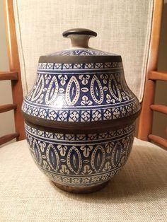 Antique Moroccan Islamic Faience Blue White Art Pottery Tureen Metal Overlay  #Turkish #HandmadeSigned