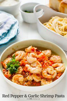RED PEPPER AND GARLIC SHRIMP PASTA RECIPE Really nice recipes.  Mein Blog: Alles rund um Genuss & Geschmack  Kochen Backen Braten Vorspeisen Mains & Desserts!