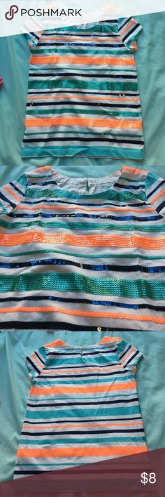 Girls top Cute girls top in excellent condition sequin detail in orange, black, and turquoise Joe Fresh Shirts & Tops Blouses