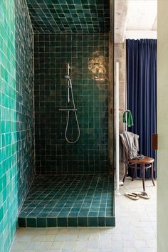 Loft DVVT. Green tile shower, Navy drapery. Gorgeous.