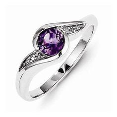 Idée et inspiration Bijoux : Image Description 925 Sterling Silver Colored w/ White Gold Diamond and Violet Purple February Simulated Birthstone Amethyst Round Engagement Ring cttw. Black Diamond Jewelry, Sterling Silver Diamond Rings, Amethyst And Diamond Ring, Purple Jewelry, Amethyst Jewelry, White Gold Diamonds, Colored Diamonds, Diamond Stone, Silver Ring