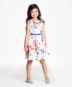 Another great find on #zulily! White Floral Dress - Girls #zulilyfinds