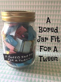 A bored jar fit for a tween including a free printable full of ideas for activities for older children to do when they're bored!  The ideas are all either totally free or cost very little so you can keep them entertained for less!