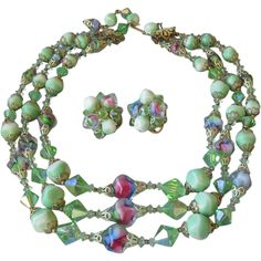 Spectacular Signed Vintage VENDOME Rainbow Glass & Lime Green Crystal Triple Strand Necklace & Earrings Set