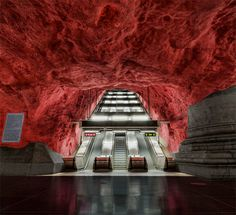 Radhuset Subway Station located in Stockholm, Sweden, one of many very visually unusual subway stations in the area.