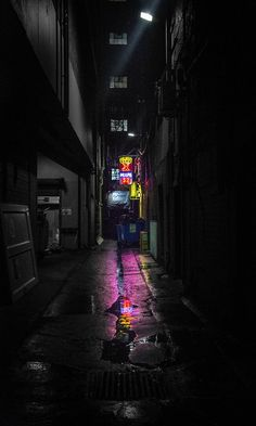 This is how I want this world to be introduced. You're walking down an alleyway black and white but for the slip of neon at the end which blooms into the vice city Urban Photography, Night Photography, Street Photography, Photography Lighting, Minimalist Photography, Creative Photography, Photography Ideas, Neon Noir, Cyberpunk City