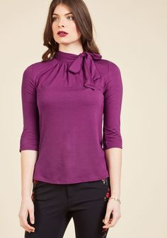 Fashionable Focus Top in Magenta. A wonderful work ethic is always in style, and this jersey knit top secures a sophisticated look so you can concentrate on today's tasks. #purple #modcloth