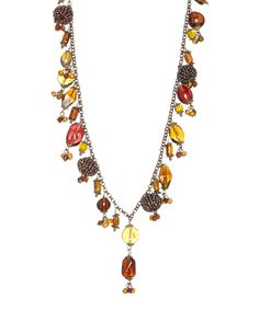 Look at this Topaz & Burnt Gold Bead Necklace on #zulily today!