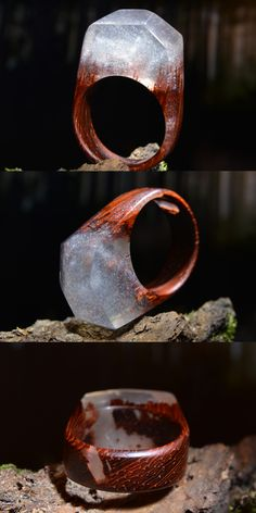 Mysterious ring made of exotic padouk and jewelry resin with tiny silver glitters