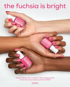a vibrant magenta pink nail polish that sends out good vibes from the new essie summer 2018. shop it now on essie.com