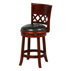 Mintra Cherry Santiago 24-Inch Bicast Leather Swivel Counter Stool by MINTRA. $99.99. Dimension: 38-inch high by 18-inch wide by 18-inch deep; seat height: 24-inch. Solid woods construction in cherry finish. French legs with tapered bottoms: full ring footrest for strength and stability. Easy home assembly with hardware included. Upholstery materials: premium bi-cast leather covers; black leather upholstery. Perfect for refined entertaining, this Santiago counter stool ...