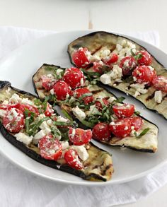 Freshly grilled eggplant, with a a tomato and feta salad, using one grill pan.