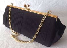 Vintage 1950s 1960s Black & Gold MIDDX ENGLAND Ladies Evening Cocktail Party Clutch Purse Bag Gatsby by JuliesLittleSecrets on Etsy