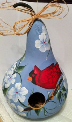 Gourd Birdhouse with Cardinal.  Would be great to do with state trees (or flowers) and birds!