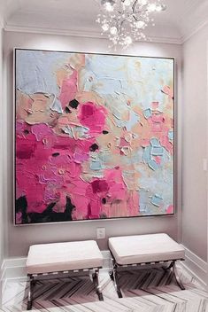 Large pink gold blue art abstract painting fuchsia blue fuchsia abstract painting abstract landscape painting art – Merys Stores – Famous Last Words Contemporary Abstract Art, Contemporary Landscape, Colorful Abstract Art, Abstract City, Contemporary Artists, Canvas Painting Landscape, Painting Art, Large Painting, Painting Flowers
