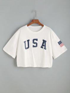 Camiseta corta con estampado de letra de hombros caídos - blanco -Spanish  Romwe Ropa Moderna efcbbb2a44109
