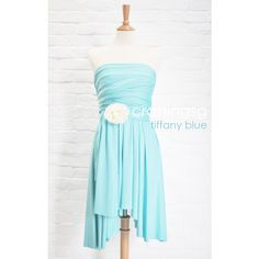 Bridesmaid Dress Infinity Dress Aqua Blue Knee Length Wrap Convertible... ($35) ❤ liked on Polyvore featuring dresses, light blue, women's clothing, blue dress, aqua dresses, mini dress, short white dresses and casual white dresses