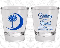 Palmetto Tree Shot Glasses, Wedding Glasses, Crescent Moon, South Carolina Palmetto, Palmetto Moon, Custom Shot Glass (78)