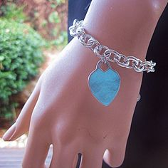 Silver Heart Bracelet Free Shipping Silver Oval Links