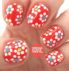 Summer flower nail art