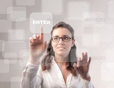 Enter by ollyi. Nice office worker touching the enter button
