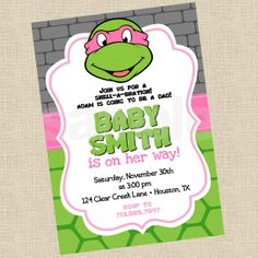 Printable Diy Pink Ninja Turtles Inspired Invitations Party Invite On Etsy 13 14 Aud Marianne Alves Turtle Baby Shower