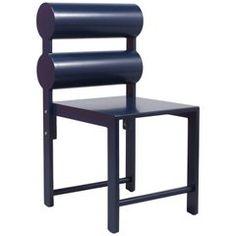 waka waka indigo blue lacquer double cylinder dining chair