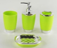 4 Piece Bathroom Accessory Set Soap Dish Dispenser Tumbler Toothbrush Holder (211-4) (Lime Green)