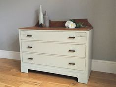Vintage Oak Painted Chest of Drawers  Antique by BaskervilleRoss