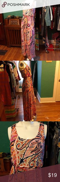 Francesca's Funky Bohemian Pattern Maxi Dress NWT Sort of like paisley but not really? Then this dress is what you're looking for. It's got a stunning florid (but not floral...this ain't your grandma's maxi dress) pattern that's just next door to paisley. It would look fabulous with chunky boots and a jean jacket or with your favorite hippie sweater! 96% polyester, 4% spandex. Hand wash cold and hang to dry OR dry clean. Francesca's Collections Dresses Maxi