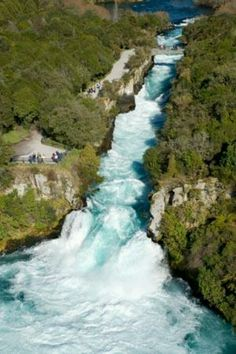 Huka Falls, New Zealand. Find the ferocious Huka Falls just north of Taupo, central North Island. You don't get a sense of the power unless you are standing right next to them, or on the bridge overlooking them. A perfect water slide. Places Around The World, Oh The Places You'll Go, Places To Travel, Places To Visit, Around The Worlds, Vacation Places, New Zealand North, New Zealand Travel, Wonderful Places