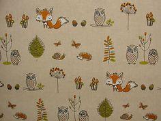 Fryetts Woodland Fox Owls Trees 100% Cotton Fabric For Curtains Crafting   eBay