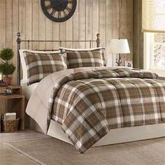 BEAUTIFUL TAN TAUPE BEIGE BLUE BROWN  COUNTRY CABIN PLAID COTTON COMFORTER SET