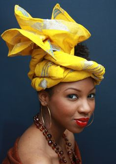 "One way to get noticed at a traditional event in Nigeria is a gorgeous 'gele' style. ""Gele"" is a Yoruba (Nigeria, West Africa) word for a female head-wraps usually worn at occasions such as wedding… African Hats, African Attire, African Wear, African Women, African Dress, African Fashion, Nigerian Fashion, African Style, Ghanaian Fashion"