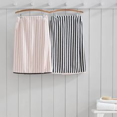 Wrap yourself up in comfy cotton when you're out of the bath. Designed exclusively for Pottery Barn Teen by celebrity stylists and fashion designers Emily Current and Meritt Elliott, this on-trend striped bath wrap stays on tight thanks to grippy velcro.  Pottery Barn Teen x Emily & Meritt Pirate Striped Bath Wrap