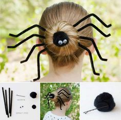 How to DIY Fun Spider Hair Bun for Halloween | www.FabArtDIY.com LIKE Us on Facebook ==> https://www.facebook.com/FabArtDIY
