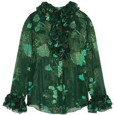 Anna Sui Iridescent Moonlight Garden fil coupé silk-blend chiffon... (3.005 RON) ❤ liked on Polyvore featuring tops, blouses, green blouse, frill blouse, green chiffon top, green ruffle top and ruffle blouse