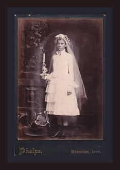 Haunting- Beautiful Victorian Girl- Ghostly Confirmation Portrait- 1800s Vintage Cabinet Photograph