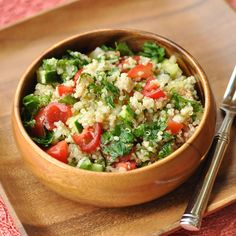 No list of supergrains would be complete without quinoa, which is gluten-free as well as a complete protein. This twist on tabouli features a light and healthy dressing of olive oil and lemon juice that retains the tart flavors and vibrant colors of the traditional dish. Get the recipe at nutritiouseats.com.   - Redbook.com