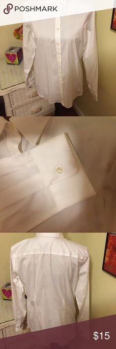 Lands' End no iron pinpoint white oxford shirt 👚 EUC, like new, white business suit shirt. Size 14, 💯 % cotton. Lands' End Tops Blouses
