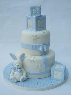 Boy baby shower cake > mooi onderboord, lief konijntje