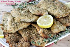 This lovely main dish uses sliced turkey cutlets breaded with Italian bread crumbs, seasonings and parmesan cheese. Parmesan Recipes, Baked Chicken Recipes, Turkey Recipes, Turkey Tenderloin, Turkey Cutlets, Low Calorie Baking, Salad With Balsamic Dressing, Baked Fish Fillet, Baked Turkey