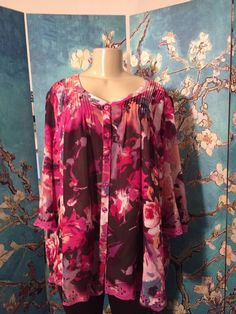 DENIM 24/7 PLUS 18W PINK/PURPLE FLORAL BUTTON DOWN PINK  3/4 SLEEVE TUNIC TOP #DENIM247 #Tunic #Casual