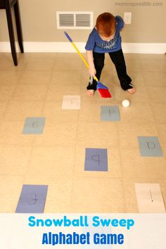 Snowball Sweep Winter Alphabet Game. Develop coordination and gross motor skills while learning letter sounds!